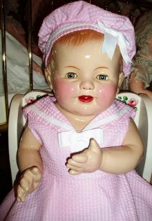 "1920's Big Beautiful Composition Baby Doll 24"" in Cute Sailor Dress with Hat"