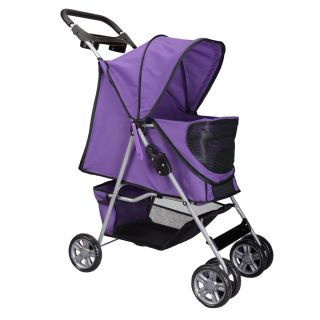 New Large Deluxe Folding 4 Wheels Pet Gear Dog Cat Carrier Stroller Purple