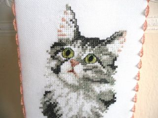 Completed Finished Cross Stitch Cat Ornament Decor Hanger Long Haired Kitten
