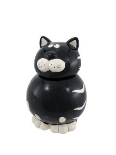 Adorable Black White Tabby Cat Cookie Jar