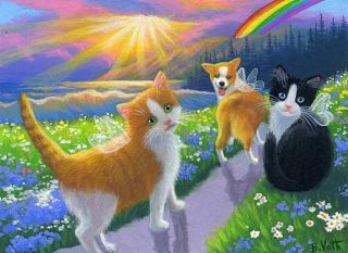 Cats Kittens Corgi Dog Angels Rainbow Bridge Ocean Original ACEO Painting Art