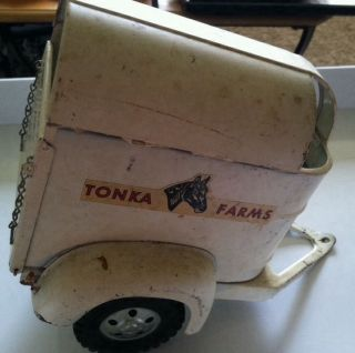 Vintage White Tonka Farms Horse Trailer