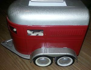 Nicely Restored Red Silver 1960s Nylint Farms Horse Trailer w 2 Horses