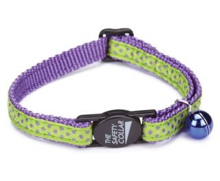 Savvy Tabby Nylon Cat Collar Purple Blue Pink Stripedot