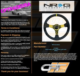 NRG Deep Dish Steering Wheel 350mm Black Leather with Red Stitch Gold Center