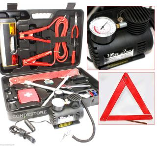 40pc Road Side Safety Emergency Tool Kits w Carry Case Mini Air Compressor
