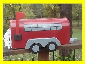 Horse Trailer Mailbox Red Trailers Mailboxes Custom Postal Mail Box New