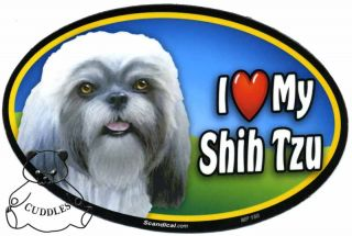 I Love My Shih Tzu Dog Car Magnet Scandical Shi Sue Heart Puppy Pet Lover BNWT