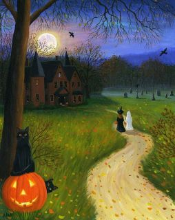 Black Cats Halloween Haunted House Ghost Witch Ravens Moon Original Painting Art