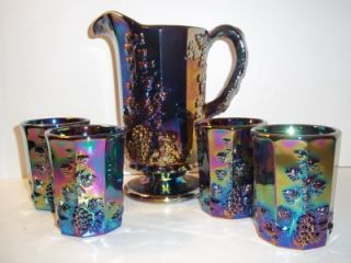 Mosser Glass Amethyst Purple Carnival Paneled Grape Pitcher 4 Tumblers Set Lot