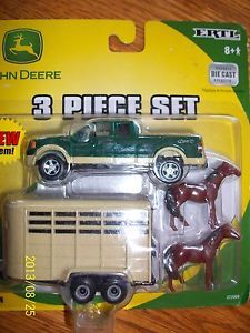 Ertl 1 64 Farm Toy John Deere 3 PC Set 4WD Ford Pickup Horse Trailer with Horses