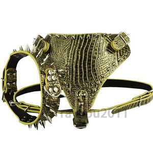Golden Black Spiked Studded Leather Dog Collar Harness Dog Pet Pitbull Mastiff