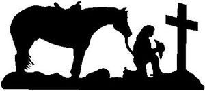 Black Vinyl Decal Cowgirl Praying Cross Horse Pray Christian Trailer Sticker