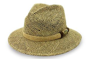 New Safari Hat Seagrass Straw Braid Size s M L XL Bronze Palm Golf Summer Men