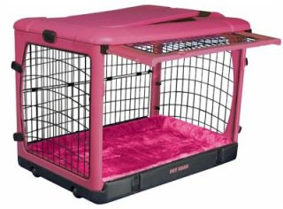 New Cute Pink Steel Dog Crate Travel Pet Sturdy Fleece Cushion Pad Happy Pet Fun