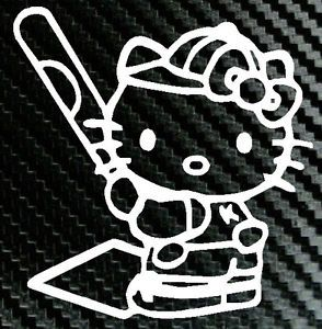 Hello Kitty Softball Baseball Car Decal Vinyl Sticker