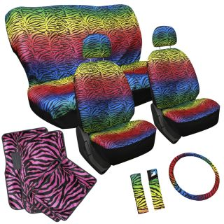 15pc Set Seat Cover Rainbow Color Zebra Animal Wheel Belt Hot Pink Floor Mat