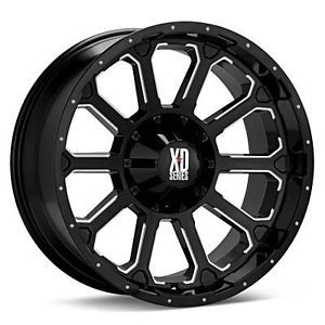 22 inch 22x10 KMC XD Black Wheels Rims 6x135 Dodge RAM Ford 1500 Bronco