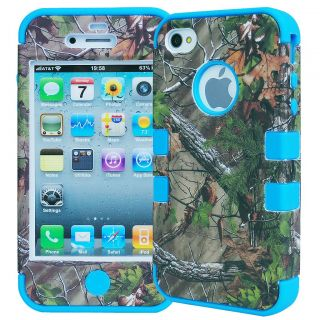 3 Layer Rugged Combo Real Tree Forest Camo Case Cover for iPhone 4 4S Blue