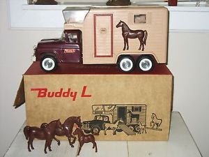 RARE Vintage Buddy L Stables Ford Horse Van Toy Truck Trailer Pressed Steel Tin