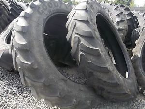 Two Used 380 90R46 Goodyear Rear Farm Tractor Tires
