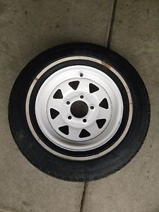 "13"" White Wheel 175 80R13 Boat camper Trailer Spare Rim Tire Wheel 13W"