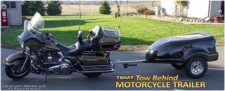 New Black Fiberglass Motorcycle Cargo Trailer Tow Behind Harley Goldwing TBMT