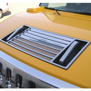 Hummer H2 03 10 Hood Vent Grill Grille Chrome Style Decal Trim Polished