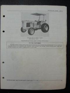 John Deere JD 301A Tractor Loader Tractor Parts Manual Book Catalog PC1529