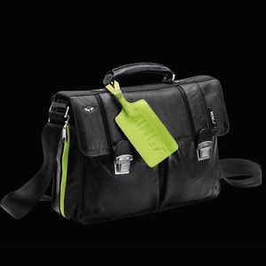 Mini Cooper by Puma Black Leather Work Shoulder Bag Laptop Carrier Organizer New