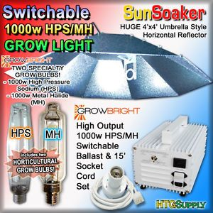 1000 Watt HPS MH Grow Light System Sunsoaker Hood 4x4