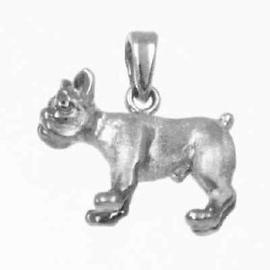French Bulldog Dog 3D Charm 925 Sterling Silver 24 24