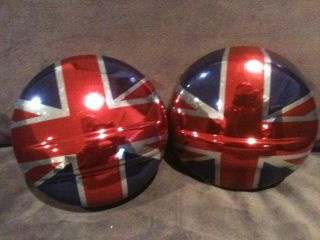 Chrome Look Union Jack Driving Light Covers Mini Cooper R50 R52 R53
