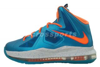 Nike Lebron x 10 GS Blue Turquoise Orange Youth Kids Basketball Shoes 543564 402