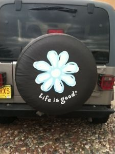 "Jeep Wrangler Spare Tire Cover ""Life Is Good"""