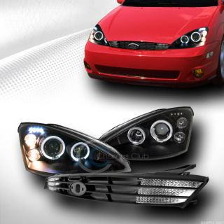 Black Halo DRL LED Projector Head Lights Front Hood Grill Grille 2000 2004 Focus