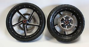 09 13 Harley FLH Street Glide Roadking RSD Factor Contrast Cut Wheels Rims Tires