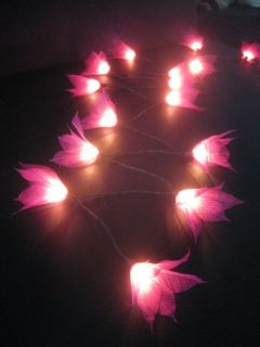 20 Pink Star Flower Battery Powered LED String Fairy Lights Lanterns Party Gift