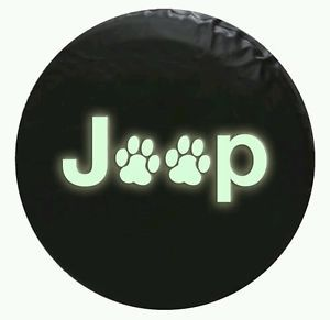 Jeep Spare Tire Cover Paw Print 30 inch Glow in The Dark