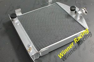 "High Flow 21 5""Aluminum Radiator Ford Hot Rod Chopped w Ford 302 V8 Engine 28 32"