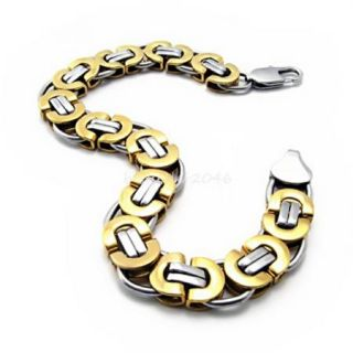 8 7 inch Gold Silver 316L Stainless Steel Link Chain Bracelet Mens Birthday Gift
