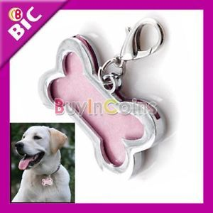Cute Stainless Steel Metal Bone Shaped Tag Medium Name Pet Dog Cat ID Tags