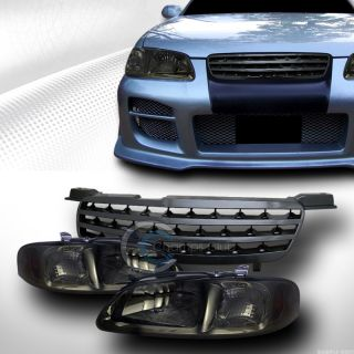 Smoke Head Lights Parking Am Front Hood Bumper Grill Grille Blk 2000 2003 Sentra