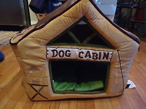 Cute Dog House Cabin Outdoor Themed Pet Bed Cats or Dogs Love It