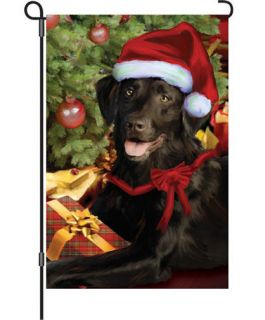 Tis The Season House Garden Flag 12 x 18 with Chocolate Labrador Retriever Dog