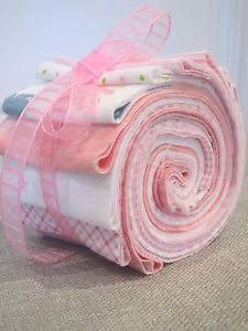 "2 5"" Jelly Roll Strips 10 Pink Baby Girl Flannel Quilt Fabric Binding Squares"