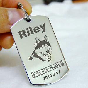 Rectangle Pet ID Tags Dog Name Tag Stainless Steel Custom Engrave Dog Tag Silver