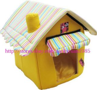 New Pet Dog Cat House Bed Medium Green Yellow 50x45x40cm