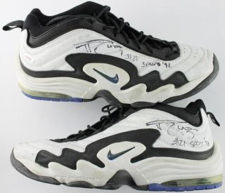"Spurs Tim Duncan "" 21 Spurs '98"" Signed 1998 Game Used Nike Shoes PSA T08806"