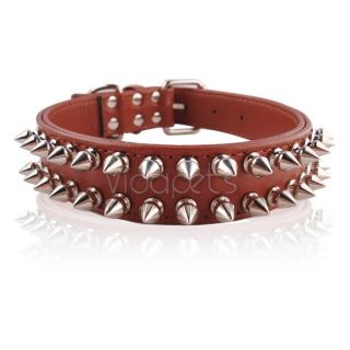"14"" 18"" Brown Leather Spiked Dog Collar Medium M"